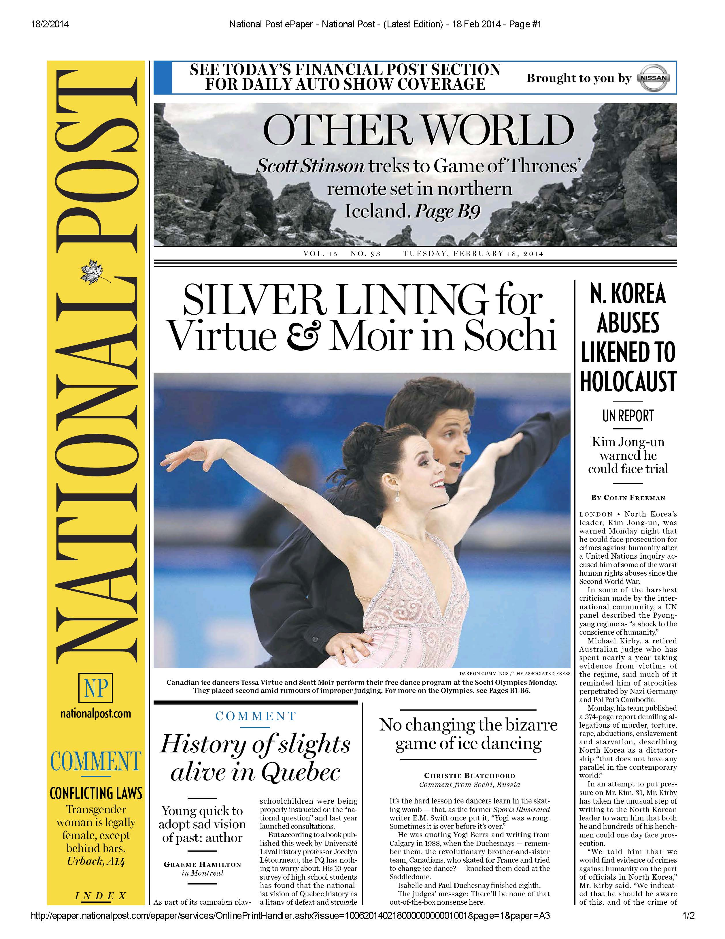 National Post ePaper - National Post - (Latest Edition) - 18 Feb 2014 - Page #1_Page_1