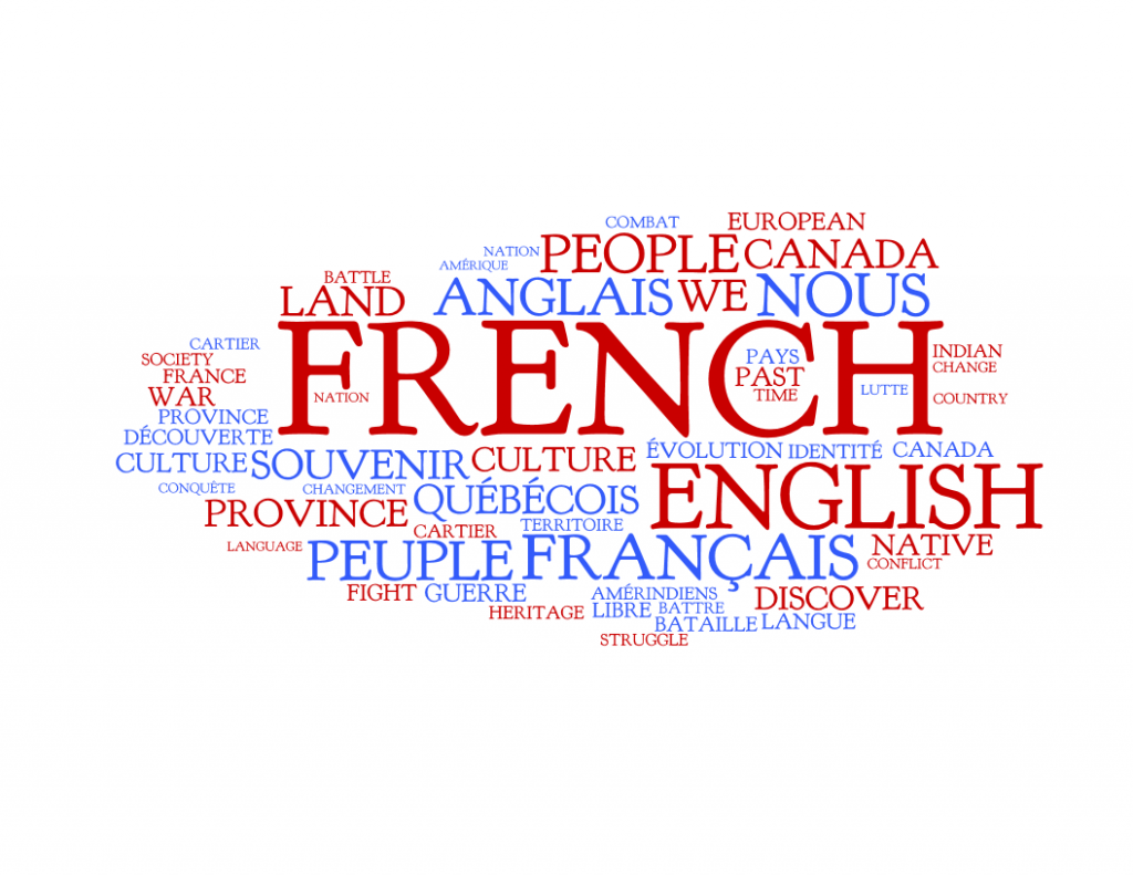 A team of researchers led by Université Laval historian Jocelyn Létourneau asked 3,423 students from Secondary 4 to university to summarize the history of Quebec in one sentence. These are the words that came up most often. Red words are from anglophone students, blue from francophones. The size represents the frequency of the word as a percentage of respondents. Photograph by: Wordle.net
