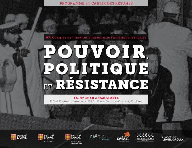 Programme du 67e Congrès de l'Institut d'histoire de l'Amérique française