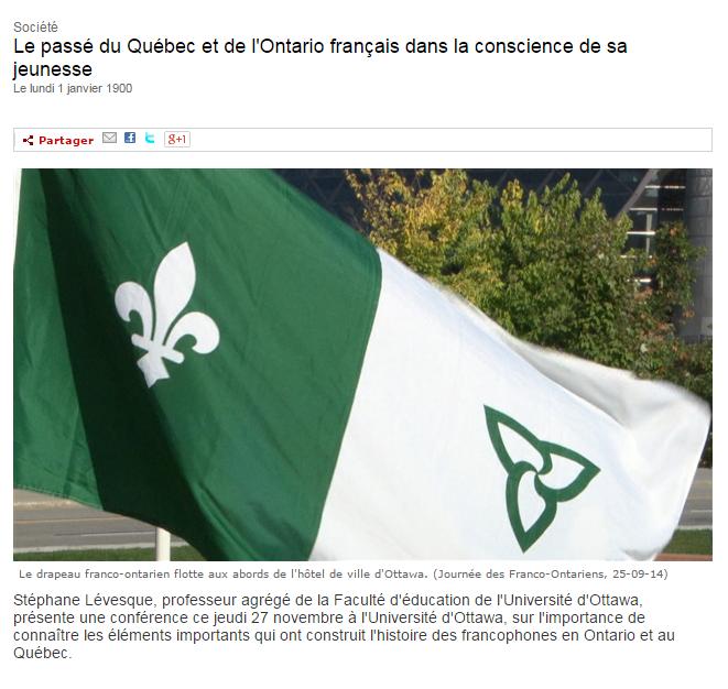 """""""Stéphane Lévesque, professeur agrégé de la Faculté d'éducation de l'Université d'Ottawa, présente une conférence ce jeudi 27 novembre à l'Université d'Ottawa, sur l'importance de connaître les éléments importants qui ont construit l'histoire des francophones en Ontario et au Québec."""""""