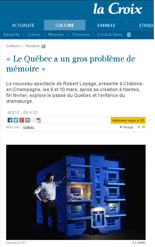 Robert Lepage 887 mémoire