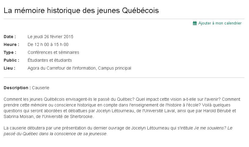 """Conférence à l'Université Sherbrooke avec Harold Bérubé, Sabrina Moisan et Jocelyn Létourneau, autour du livre """"Je me souviens?"""""""