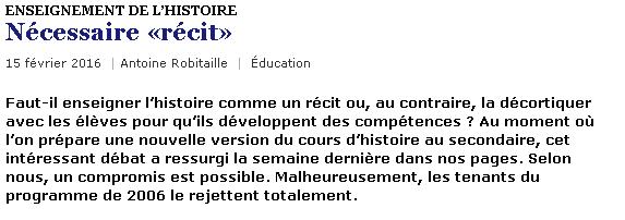 Robitaille récit histoire du Québec