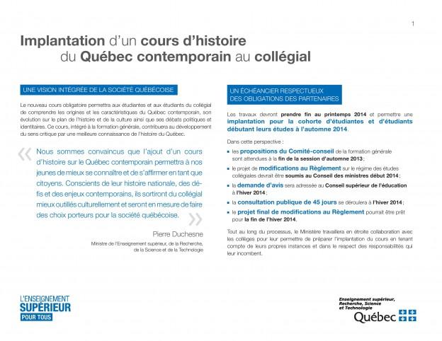 cours obligatoire histoire du Québec cégep