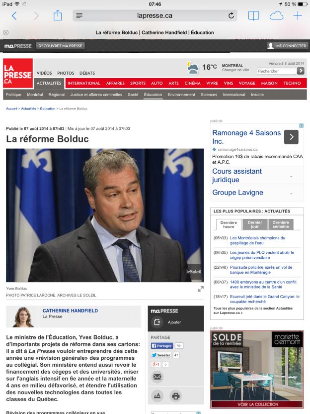 Yves Bolduc réforme cours histoire