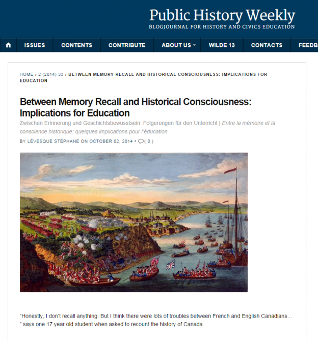 Stéphane Lévesque in Public History Weekly blog